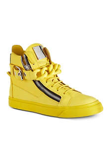 GIUSEPPE ZANOTTI Chain trainer leather high tops