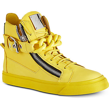 GIUSEPPE ZANOTTI Chain trainer leather high tops (Yellow
