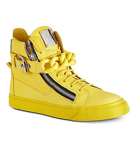 GIUSEPPE ZANOTTI Chain trainer leather high tops (Yellow
