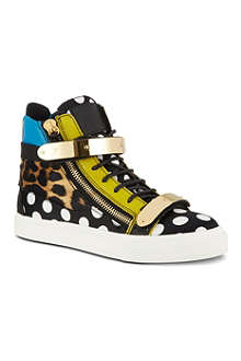 GIUSEPPE ZANOTTI Polka-dot leopard print high-top trainers