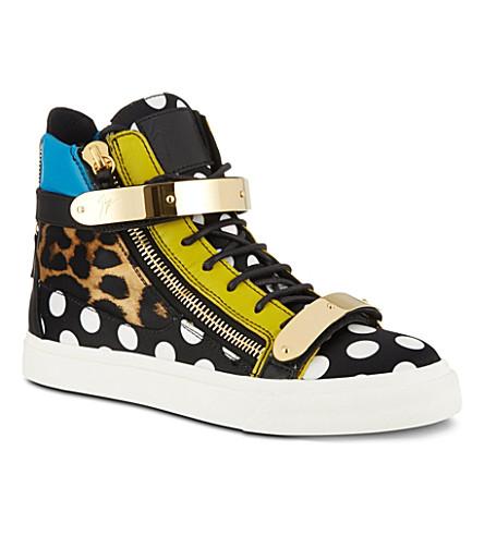 GIUSEPPE ZANOTTI Polka-dot leopard print high-top trainers