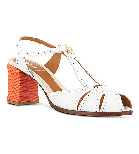 FENDI Chameleon leather sandals (White