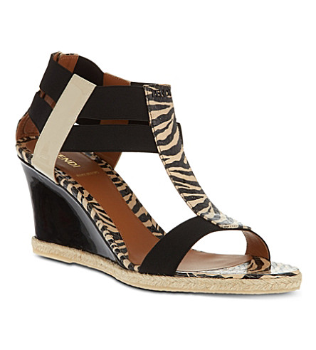 FENDI Carioca zebra print sandals (Brown