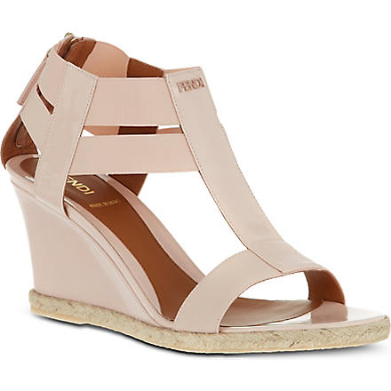 FENDI Carioca patent leather sandals (Cream