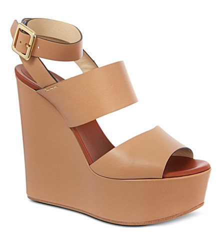 CHLOE Sledge leather wedges (Beige