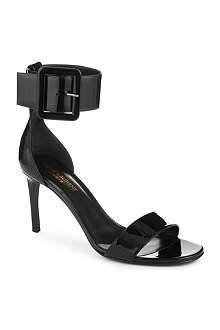SAINT LAURENT Jane ankle cuff sandals in black patent leather