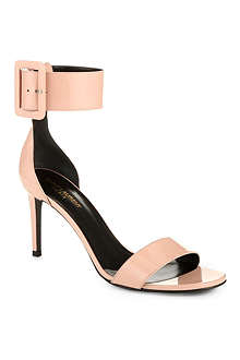 SAINT LAURENT Jane ankle cuff sandals in pink patent leather