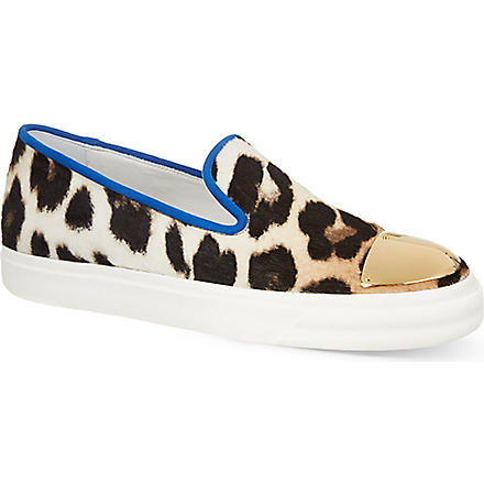 GIUSEPPE ZANOTTI Leopard print slip on trainers (Brown/oth