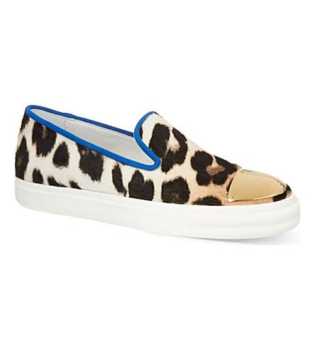 GIUSEPPE ZANOTTI Leopard print slip on trainers (Brown/oth