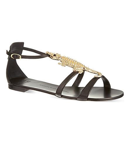 GIUSEPPE ZANOTTI Flat crocodile sandals (Black