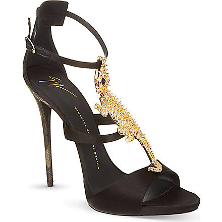 GIUSEPPE ZANOTTI Crocodile open toe sandals (Black