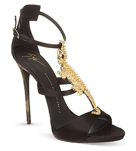 GIUSEPPE ZANOTTI Crocodile open toe sandals (Black
