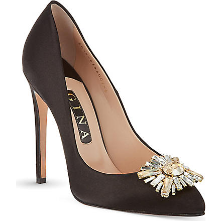 GINA Isla satin court shoes (Blk/other