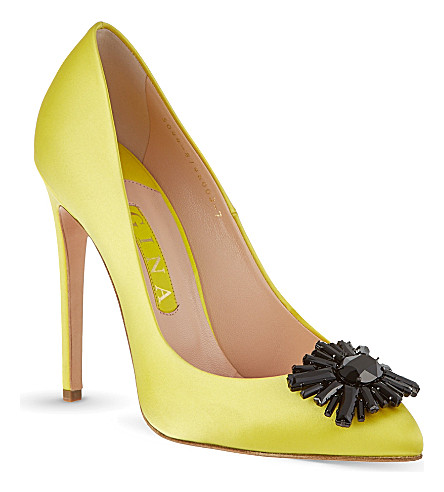 GINA Isla satin court shoes (Yellow