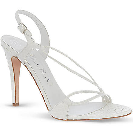 GINA Pamela scaled leather sandals (White