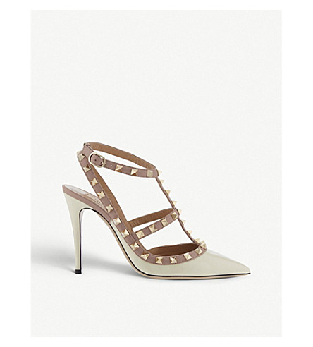 VALENTINO Rockstud 100 patent-leather courts (Champagne