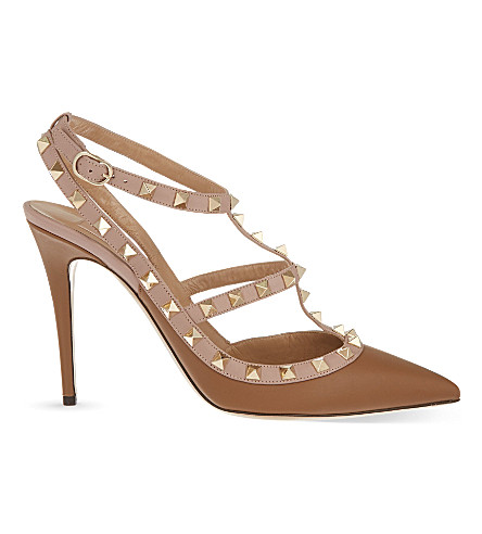VALENTINO Rockstud 100 leather heeled courts (Brown
