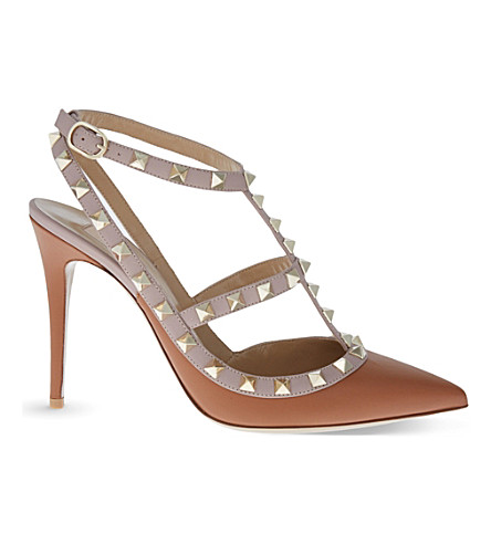 VALENTINO Rockstud 100 leather courts (Tan