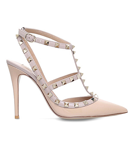 VALENTINO Rockstud 100 leather courts (Camel