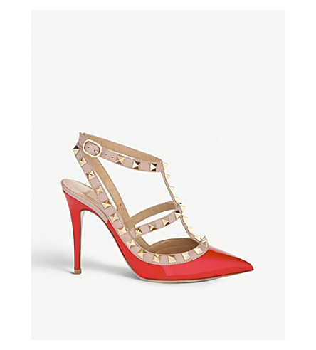 VALENTINO Rockstud 100 patent-leather courts (Red