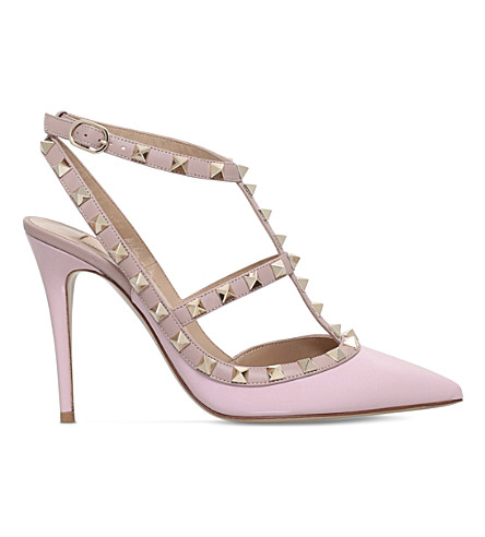 VALENTINO Rockstud 100 leather courts (Pale+pink