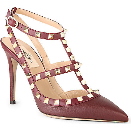 VALENTINO Rockstud 100 heeled point-toe pumps (Wine