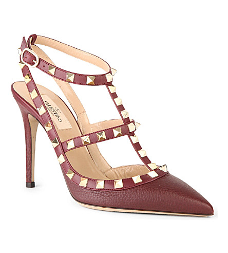 VALENTINO Rockstud leather courts (Wine