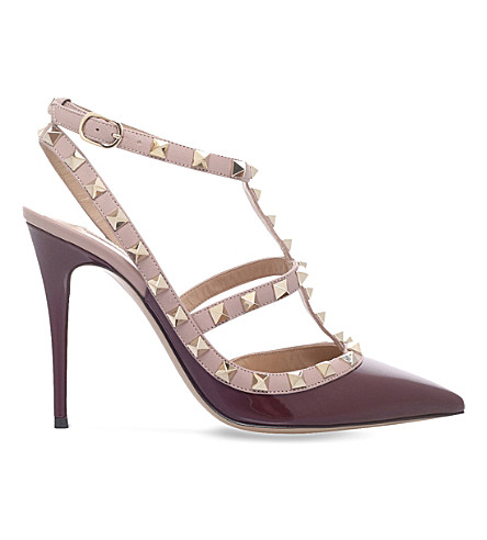 VALENTINO Rockstud 100 leather courts (Wine