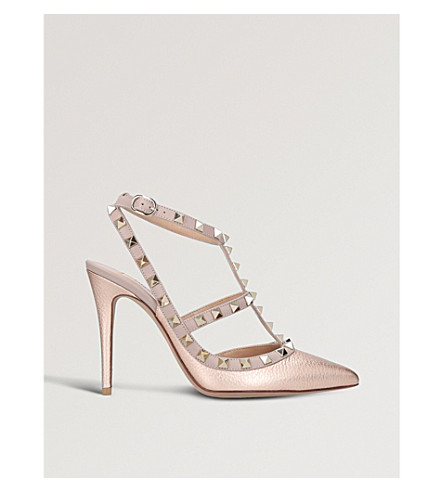 VALENTINO Rockstud 100 metallic-leather courts (Bronze