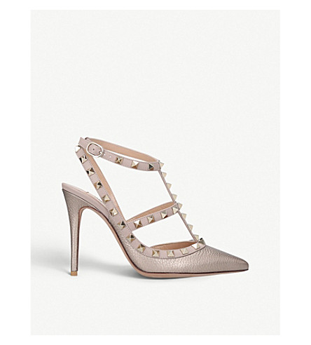 VALENTINO Rockstud 100 leather courts (Bronze