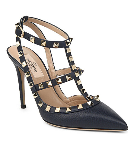 VALENTINO Rockstud 100 leather pumps (Navy