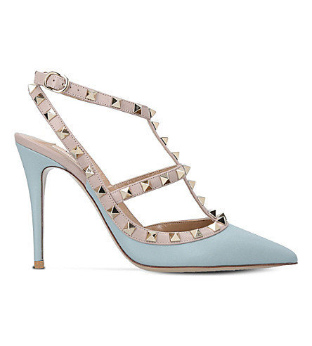 VALENTINO Rockstud 100 leather T-bar courts (Blue/pal.c