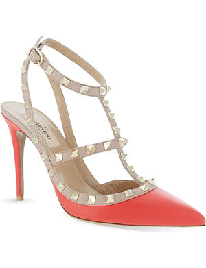 VALENTINO Rockstud 100 leather heeled sandals