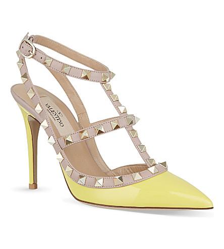 VALENTINO Patent leather rockstud heels (Yellow