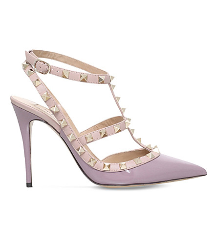 VALENTINO Rockstud 100 patent-leather courts (Lilac