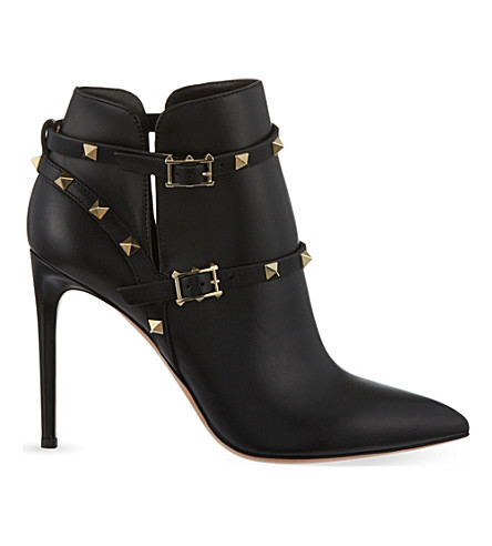 VALENTINO Rockstud 100 leather ankle boots (Black