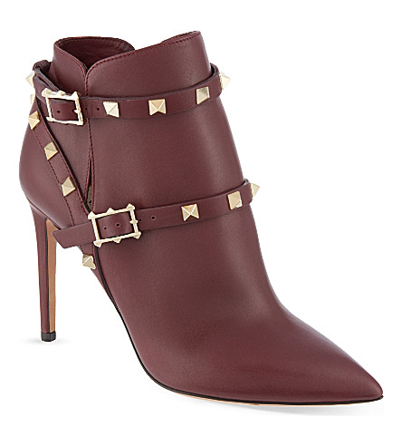 VALENTINO Rockstud 100 ankle boots (Wine