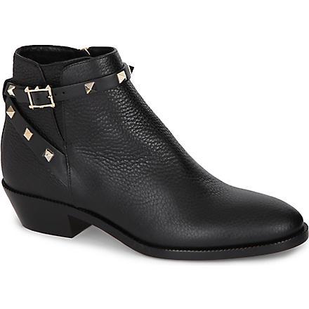 VALENTINO Rockstud leather ankle boots (Black