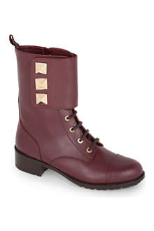 VALENTINO Leather combat boots with studs