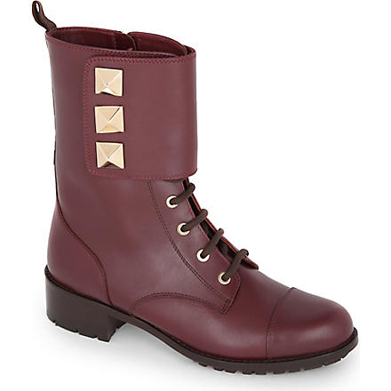 VALENTINO Leather combat boots with studs (Wine