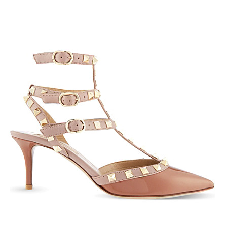 VALENTINO Rockstud 65 patent-leather heeled courts (Beige