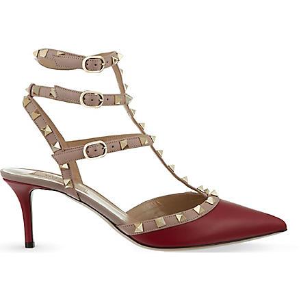VALENTINO Rockstud 65 t-bar heels (Red/dark