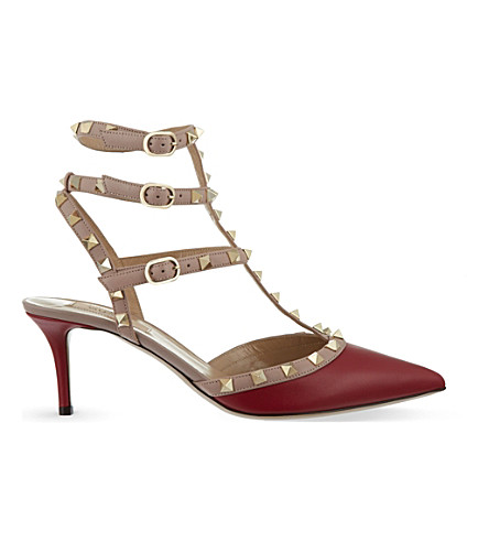 VALENTINO Rockstud 65 t-bar heels (Red/dark