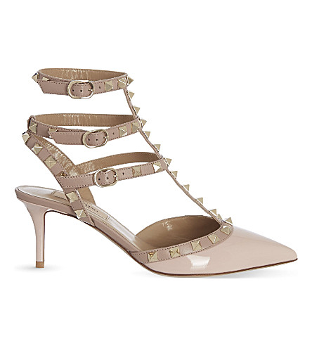 VALENTINO Rockstud 65 patent-leather courts (Pale+pink