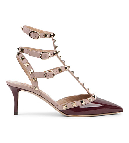 VALENTINO Rockstud 65 patent-leather courts (Wine