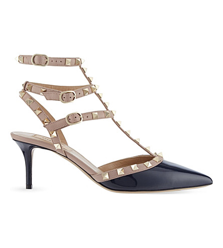 VALENTINO Rockstud 65 patent-leather courts (Navy