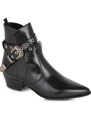 SAINT LAURENT Classic Janis ankle boots with western buckle in black leather