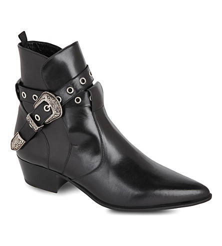 SAINT LAURENT Classic Janis ankle boots with western buckle in black leather (Black
