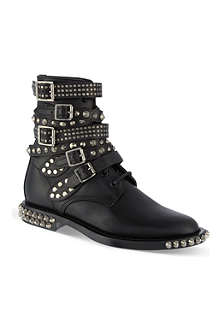 SAINT LAURENT Signature rangers studded punk sole boots in black leather