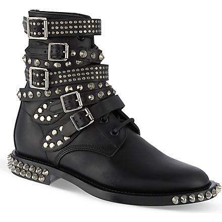 SAINT LAURENT Signature rangers studded punk sole boots in black leather (Black